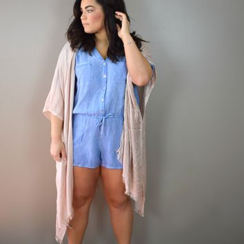 Washed Button Down Romper
