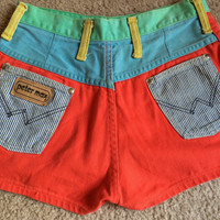 Vintage PETER MAX Wrangler Color Block Hot Pants Shorts