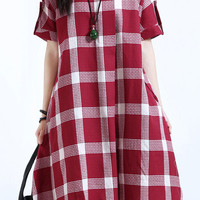 Red Plaid Print Short Sleeve Flare Midi Dress