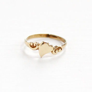 Vintage Art Deco 10k Yellow Gold 1930s Heart Motif Ring - Size 1 3/4 Baby Midi Valentine Love Romantic Fine Pinky Ring Jewelry