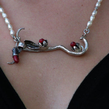 Organic Branch with Flowers and Leaves Necklace, Sterling Silver Necklace with Red Corals