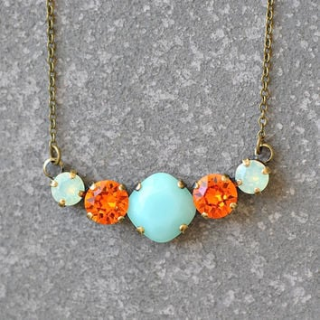 Tennis Necklace Swarovski Crystal Mint Green Tangerine Orange Minty Opal Rhinestone Bar Necklace Mashugana