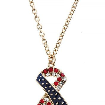 AMERICAN FLAG CRYSTAL ACCENT RIBBON PENDANT NECKLACE SET