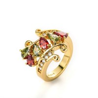 MLOVES Women;s Classical Bright Diamanted Gold Ring