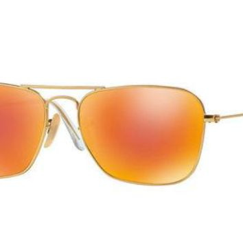 NEW Authentic Ray-Ban CARAVAN Metal Gold Orange Flash Sunglasses RB 3136 112/69