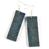 Handmade Ceramic Statement Earrings - Blue - Rectangle - Rustic Textured Dangle Jewellery - DeeDeeDeesigns