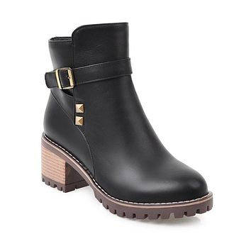Rivets Pu Leather Women Ankle Boots Square Heel 2543
