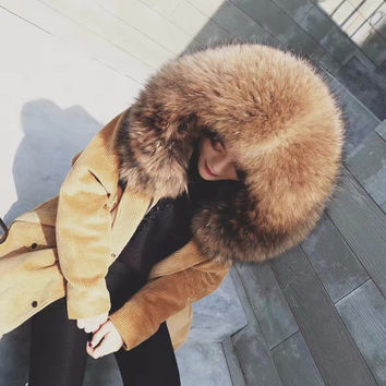 white natural real raccoon fur collar with corduroy lambswool jacket 2017 winter coat women loose  hooded long parka