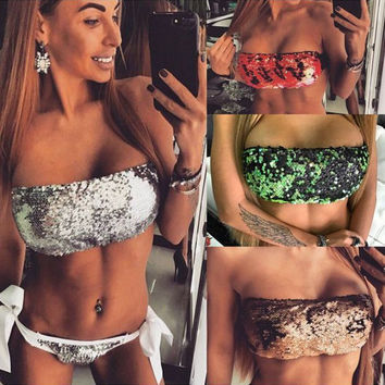 Sexy sequins strapless bikini two-piece outfit