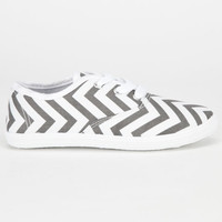Full Tilt Girls Lace Up Shoes Grey Chevron  In Sizes