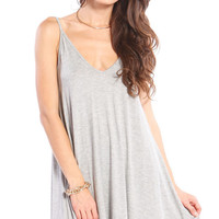 V-NECK SLIP DRESS - GREY