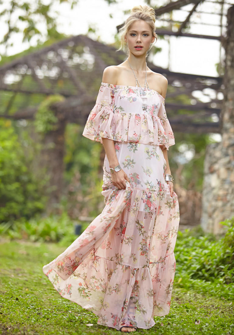 Floral Off Shoulder Maxi Dress from lookbookstore.co : Long