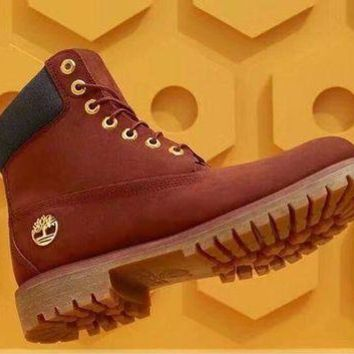 ONETOW Timberland Men Women Premium Waterproof Boot Red Gold Buckle