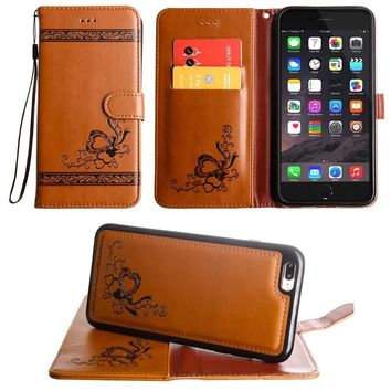 iPhone 8 Plus Wallet Case, iPhone 7 Plus Case, Slim PU Leather Embossed Design with Matching Detachable Cover with Credit Card Holder Wristlet for Women by Cellular Outfitter [Heart Vine - Brown]
