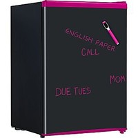 Keystone  2.6 Cu. Ft. Compact Refrigerator with Wipe-Off Board Front - Black with Pink Trim  ENERGY STAR®