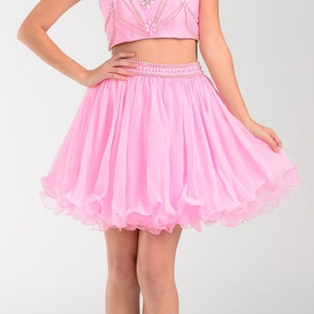 Poly USA 7416 Short 2 Piece Prom Dress Pink Chiffon Skirt