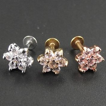 1 Piece 1.2x6mm Bar surgical 316 Stainless Steel Flower Zircon Flowers Lip ring piercing labret Tragus Ear Piercing Body Jewelry