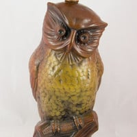 Vintage 1971 Crown Creative J. Holmar Ceramic Owl Lamp