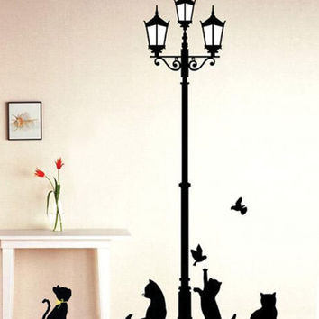 Popular Ancient Lamp Cats and Birds Wall Sticker Wall Mural Home Decor Room Kids Decals Wallpaper SM6