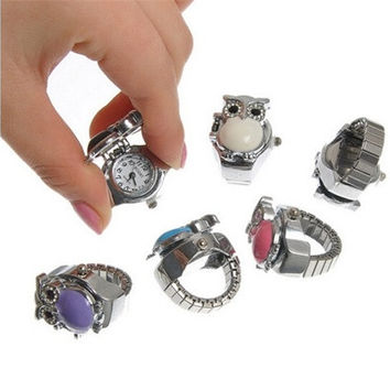 2015 Fashion 1PC Finger Ring Watch Quartz Owl Enamel Adjustable Band Size7 (17.5mm) [8833598092]