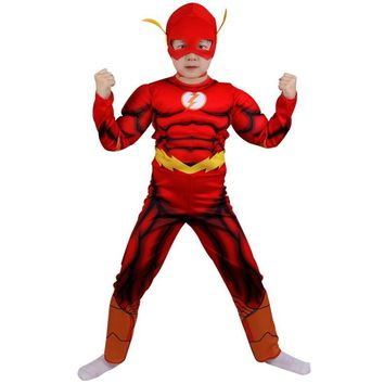 Cool Halloween Muscle Superhero The Flash Cosplay Costume for Kids Play Dress Comic Carnival Costume for Kids Boys Clothes with MaskAT_93_12