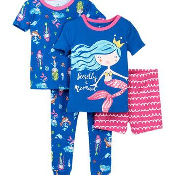 Night Life | Secretly A Mermaid Cotton PJ's - Set of 2 (Baby Girls) | Nordstrom Rack