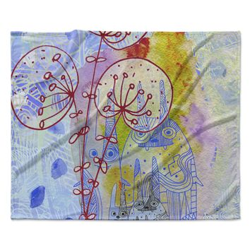 """Marianna Tankelevich """"Composition with Bunnies in Blue"""" Abstract Rabbits Fleece Throw Blanket"""