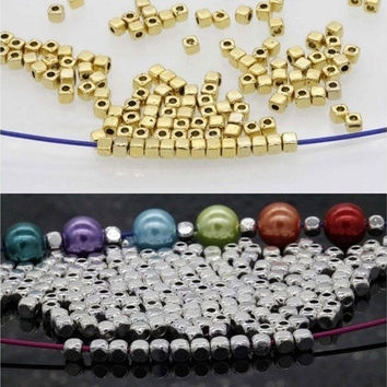 100Pcs/500Pcs Loose Cube Metal Silver Gold Spacer Beads Jewelry Findings 3.5mmx3mm