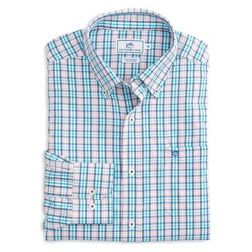 Surfsong Plaid Intercoastal Performance Shirt in Seven Seas Blue by Southern Tide