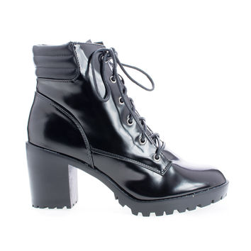 Ranger22 Black Patent By Breckelle's, Lace Up Padded Collar Lug Sole Heel Combat Ankle Boots