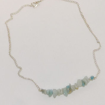 Necklace and Earrings, Blue, Amazonite, Silver Chain, Handcrafted, Set, Minimalist, Trapeze, Ooak, Wedding, Bridesmaid