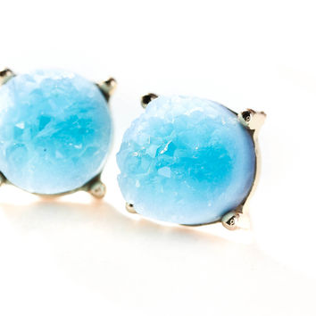 Karkio Aqua Blue Druzzy Earrings