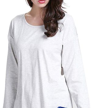 New Fashion Women T-shirt Casual Crew Neck Long Sleeve Tees Gray Sexy Cut Out Tie Cross Slim Tops Basic T-shirts