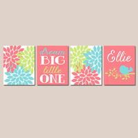 Coral Aqua Nursery Wall Art Canvas or Prints Dream Big Birdie Bird Branch Flowers Baby Girl Nursery Wall Art Girl Bedroom Artwork Set of 4