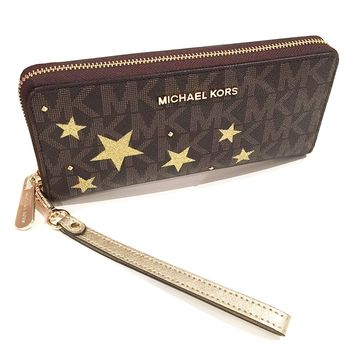 MICHAEL Michael Kors Women's Illustration Travel Continental Leather printed Wallet Clutch