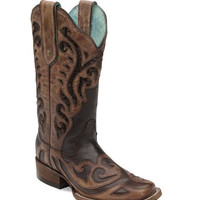 Corral Women's Chocolate Sequence Inlay and Laser Square Toe Boot - C1199