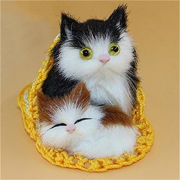 Cute Simulation Mother Cat and Kitten Plush Dolls