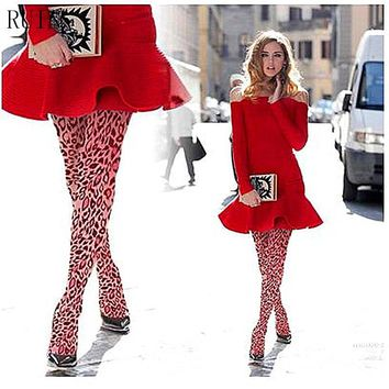 RUIN women 's tights Leopard Print Pantyhose Pink female girl tights 40D