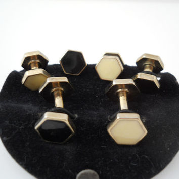 Cufflink And Stud Set MOP Mother Of Pearl Black Onyx Double Sided Hexagon Cuff Link Tuxedo Set
