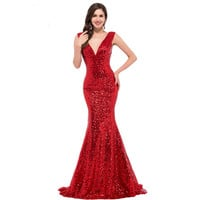 Grace Karin Mermaid Evening Dress 2016 Deep V Celebrity Vestidos Formal Golden Red Black Blue Sequins Special Occasion Dress New