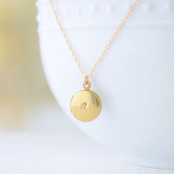Initial Locket - Engraved Locket Necklace - Tiny Personalized Brass Locket - 1277