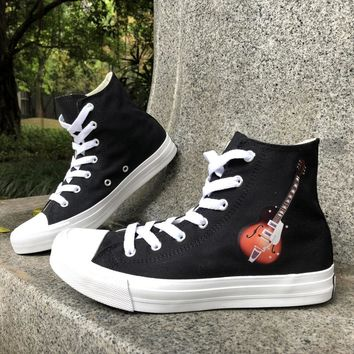 Wen Black White Classic Original Unisex Design Acoustic Guitar Musical Instrument Girl's Canvas Sneaker Hi-top Boy's Skate Shoes