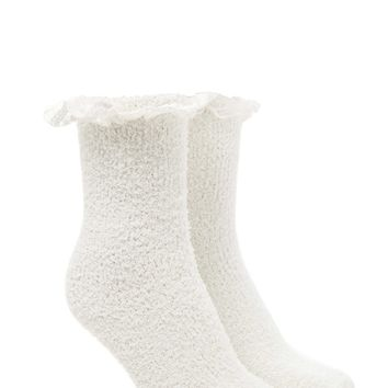 Lace-Trimmed Fuzzy Crew Socks