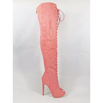 """Cape Robbin Berry Salmon Open Lace Up Front 4.5"""" Heel Thigh High Boot"""