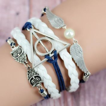 deals] best gift,owl Harry Potter Deathly Hallows Snitch wings bracelet,Imitation pearl,navy blue bracelet, white woven leather (Color: White) = 5988111489