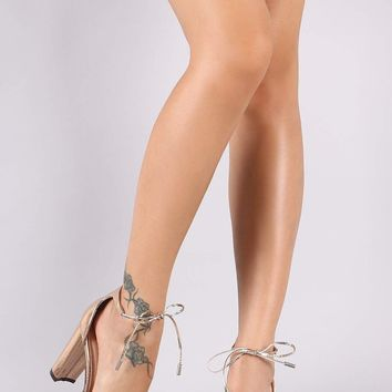 Patent Pointy Toe Ankle-Tie Chunky Heeled Pump