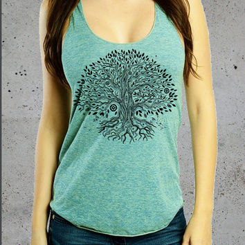 Tree of Life Tank Top shirt.  Women's American Apparel soft ultra thin Tri-blend Tank.  Yoga clothes S M L (7 Colors Available
