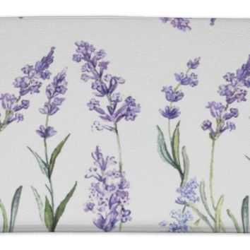 Bath Rug Mat No Slip Microfiber Memory Foam, White Watercolor Pattern With Lavender, 34x21