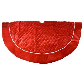Red Classic Quilt Pattern Christmas Tree Skirt, 52-Inch