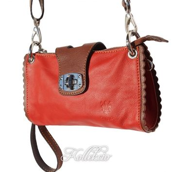 Italian Red Genuine Leather Clutch with Shoulder Strap